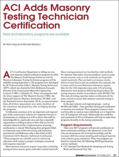 ACI Adds Masonry Testing Technician Certification Programs