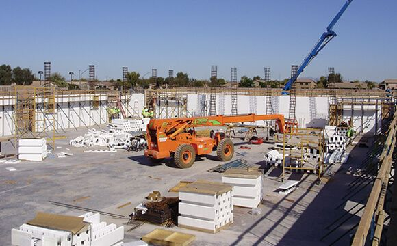 Commercial building under construction using ICF